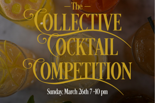Photo of cocktails and date of the Collective Cocktail event